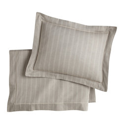Peacock Alley - Corsica Sham,, Linen, Boudoir - Isn't it time you slept in style? Consider this simply elegant pillow sham — a subtle herringbone design woven into sumptuous, 100 percent Egyptian cotton.
