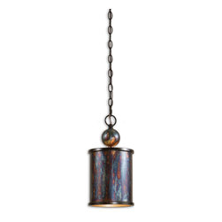 Uttermost - Albiano 1-Light Bronze Mini Pendant - Who knew distressed metal could look so good? You did. And you were right. This mini pendant has all the character you could want in a bold, contemporary style that updates everything around it.