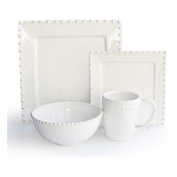 American Atelier - Bianca Bead White Square 16-piece Dinnerware Set - Add elegance to your table with this set of Bianca dinnerware from American Atelier. These plates,bowls and mugs offer service for four in a 16-piece set of earthenware in a cream color with elegant beading patterns around the edges.