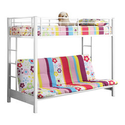 Walker Edison - Walker Edison Sunrise Metal Twin/Futon Bunk Bed - White X-HWFOTB - This simple, yet contemporary twin-over-futon bunk bed conveys chic style with its clean lines and beautiful finish. The sturdy, steel-crafted frame promises stability and function to support up to 250 pounds. Designed with safety in mind, this bunk bed includes full length guardrails and two integrated ladders for dual access to the top bunk. Ideal for space-saving needs, the futon easily converts into a full-size sleeper to accommodate an overnight guest or a growing family.Features:&#8226: Stylish, contemporary design&#8226: Sturdy, steel construction&#8226: Attractive, powder-coated finish&#8226: Futon quickly and easily converts into a full-size sleeper&#8226: Support slats included, no box spring needed&#8226: Each bunk supports 250 lbs.&#8226: Conforms to the latest consumer product safety standards&#8226: Ideal for space-saving needs&#8226: Maximum recommended upper mattress thickness of 9 in.&#8226: Does NOT include mattresses or bedding&#8226: Ships ready-to-assemble with necessary hardware and tools&#8226: Assembly instructions included with toll-free number and online support