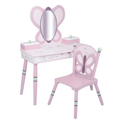 Levels of Discovery - Sugar Plum Vanity Set - Pretty in shades of plum and pink with green and ivory accents Butterfly-shaped Mylar mirror Two boxes with hinged lids open to reveal storage for jewelry, makeup and more One includes a music box that plays Dance of the Sugar Plum FairiesButterfly shaped Mylar mirror. Two storage boxes. Music box plays Dance of the Sugar Plum Fairies. . All products have instructions included for assembly