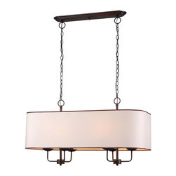 World Imports - Colonial 6-Light Island Pendant, Euro Bronze - 6 lights