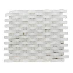 "Loft Curve Super White Glass Tile W/ Metal Dot - Loft Curve Super White 2 1/2 x 3/4 W/ 3/4 x 3/4 Dot Brick Pattern Glass Tile Whether using this stunning tile as a back splash, wall or as an accent piece, the polished white and stainless steel dot will bring a modern and contemporary ambiance to the room. Add a pop to any room with these beautiful tiles that are versatile; great to use for a back splash. Chip Size: 2 1/2"" x 3/4"" Dot: 3/4"" x 3/4"" Color: Super White and Stainless Steel Material: Glass and Steel Finish: Polished and Brushed Sold by the Sheet - each sheet measures 13"" x 11 "" (0.99 sq. ft.) Thickness: 8mm Please note each lot will vary from the next."