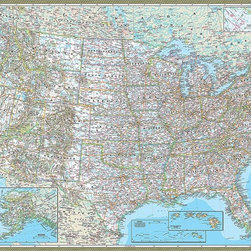 Magic Murals - Classic United States of America (USA) Map Wall Mural  -- Self-Adhesive Wallpape - Classic Map of the United States of America. Artwork. National Geographic Collection / NG Maps 2012.