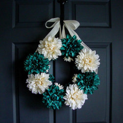 Dahlia Wreath by HomeHearthGarden - Wreath made with artificial turquoise and white Dahlias with white burlap bow. This wreath is beautiful to display year-round on door or over the fireplace mantle.