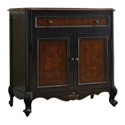 """Hooker Furniture - Grandover One Drawer Two Door Chest - White glove, in-home delivery included!  Grandover is a high-drama European traditional collection updated for today with a modern outlook and functional details.  A striking two-tone finish of exotic elegance combines hardwood solids with Golden Madrone Burl, Walnut, Cherry, Maple and Birch veneers, bordered by black handpainting and subtle, handrubbed gold accents for an aged and acquired look.  One drawer, one adjustable shelf behind two doors.  Drawer: 29"""" w x 15 1/2"""" d x 4 1/2"""" h  Cabinet space (without shelves): 28"""" w x 15 3/4"""" d x 18 1/4"""" h"""