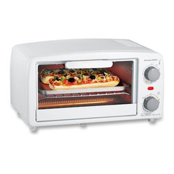 Hamilton Beach - Toaster Oven/Broiler, White - This Extra-Large White Toaster/Oven/Broiler from Proctor-Silex easily fits four slices of toast or two personal pizzas.  It includes a bake pan and broil function for cooking and warming versatility.  It features a 15 minute timer with auto shutoff and ready bell and a drop-down crumb tray for easy cleanup.