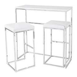 Cubic Compact Breakfast Bar with Stools, White