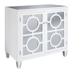 Crestview Collection - Crestview Collection CVFUR034W Circles White 2-Drawer Cabinet - Crestview Collection CVFUR034W Circles White 2-Drawer Cabinet