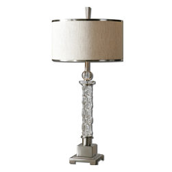 Uttermost - Campania Glass Table Lamp - Let's face it ... a tiny bit of drama is good every now and then. This carved glass lamp features brushed aluminum and a dramatic look while still being subdued enough to keep the looks from your mother-in-law at bay.