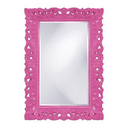 Barcelona Mirror Hot Pink - This rectangular, Traditional mirror features an ornate open scroll work frame that is finished in a glossy hot pink lacquer.