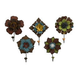 """IMAX - Caldwell Floral Wall Hooks - Set of 5 - Mult-colored metal flowers adorned with rhinestones are a decorative set of wall hooks that add color to any functional space. Item Dimensions: (10.75-12.25""""h x 7.5-8.5""""w)"""