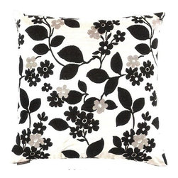 "Canaan - 24"" x 24"" Winding Walk Floral and Leaf Pattern Throw Pillow with Feather/Down - Winding walk floral and leaf pattern throw pillow with a feather/down insert and zippered removable cover. These pillows feature a zippered removable 24"" x 24"" cover with a feather/down insert. Measures 24"" x 24"". These are custom made in the U.S.A and take 4-6 weeks lead time for production."