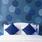 Medium Floral Stamp Bari J Stencil - Floral Stamp Bari J Wall Stencil (medium) from Royal Design Studio Stencils. This tone on tone, blue, hand painted pattern makes this bedroom a calming retreat, but it also could be used in bold colors on fabric, furniture and in children's rooms.