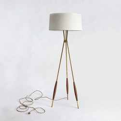 Mulberry Tripod Floor Lamp, Eggshell Linen Shade - I really admire the craftsmanship of this design. It's so elegant yet simple.