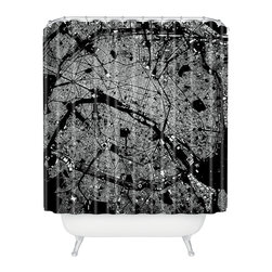 DENY Designs - CityFabric Inc Paris Black Shower Curtain - Who says bathrooms can't be fun? To get the most bang for your buck, start with an artistic, inventive shower curtain. We've got endless options that will really make your bathroom pop. Heck, your guests may start spending a little extra time in there because of it!