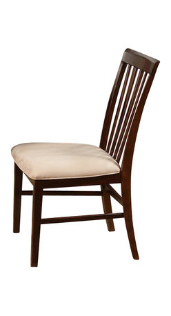 Atlantic Furniture - Atlantic Furniture Mission Side Chair in Antique Walnut (Set of 2) - Atlantic Furniture - Dining Chairs - AD771104 - The Atlantic Furniture Mission Dining Side Chairs are constructed from Eco-friendly solid hardwood and have an elegant Antique Walnut wood finish. This set of two dining side chairs feature a vertical slat back design and an Oatmeal colored seat cushion. The Mission Dining Side Chairs are perfect for a casual dining room setting.