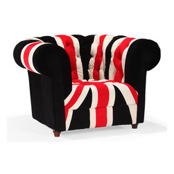 ZUO MODERN - Union Jack Arm Chair Red, White & Black - Stay patriotic with our Union Jack series. Made from a plush microfiber and tufted for a classic look. Comes in an armchair, loveseat, sofa and ottoman.