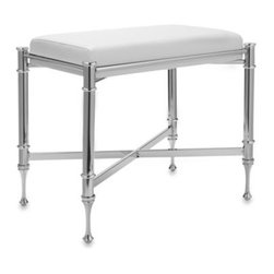 Taymor - Taymor Chrome Vanity Stool - This polished chrome-plated steel vanity stool will look beautiful in any bathroom or bedroom. It has a vintage look with its detailing and smooth white vinyl upholstery.