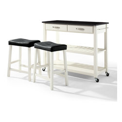 "Crosley - Solid Black Granite Top Kitchen Cart/Island With 24"" Black Upholstered Saddle St - Dimensions:   18 x 42 x 36 inches"