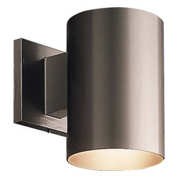 "Progress Lighting - Progress Lighting 5"" Dia. Cylinder Transitional Outdoor Wall Sconce X-02-4765P - This Progress Lighting outdoor wall sconce is clean and functional thanks to the cylindrical design complete with sleek curves and clean lines. From the Cylinder Collection, it comes finished in a beautiful powder coated Metallic Gray hue that is resistant against chips and fading. UL listed for wet locations."
