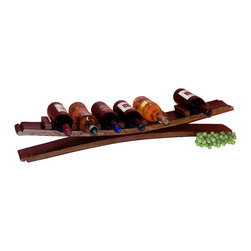 2-Day Designs - Seven-bottle Stave Display Wine Holder - This charming wine bottle holder made from authentic wine barrel staves. Its lightly curved design comfortably holds up to seven bottles,finished in a rich pine color.