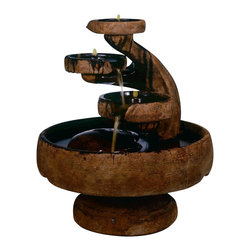 Mill Tier Outdoor Water Fountain, Garden Stone - *Please Note: Our color chart is for example purposes only. Monitor settings and how the finish is applied to these outdoor water fountains can vary to what is shown in the color chart.  Actual stone samples of each finish can be purchased to help you make your finish choice.