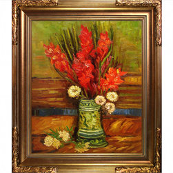 """overstockArt.com - Van Gogh - Vase with Red Gladioli - 20"""" X 24"""" Oil Painting On Canvas Hand painted oil reproduction of a famous Van Gogh painting, Vase with Red Gladioli . The original masterpiece was created in 1886. Today it has been carefully recreated detail-by-detail, color-by-color to near perfection. Vincent Van Gogh's restless spirit and depressive mental state fired his artistic work with great joy and, sadly, equally great despair. Known as a prolific Post-Impressionist, he produced many paintings that were heavily biographical. This work of art has the same emotions and beauty as the original. Why not grace your home with this reproduced masterpiece? It is sure to bring many admirers!"""