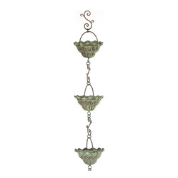 Fluted Rain Chain | MacKenzie-Childs - Watch your own waterfall, as rain cascades from roof downspout to ground. Cast aluminum with verdigris finish and a hand-formed iron chain.