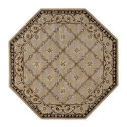 Nourison - Nourison Versailles Palace VP06 6' x 6' Beige Area Rug 49596 - As if plucked from the rooms of Marie Antoinette, this charming design captures the romance of 18th Century refinement. Its ivory-beige ground with hints of French blue is crossed by a foliate latticework, each space enclosing a single perfect blossom. The swirling vine border adds movement and another element of visual interest to this richly textured rug.