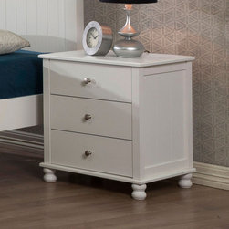 None - White Anderson 3-drawer Nightstand - This clean-cut nightstand is the perfect spot for a quirky industrial lamp.