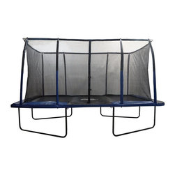"""Upper Bounce - Rectangular Trampoline with Fiber Flex Enclosure Feature (9 Ft. x 15 Ft.) - Size: 9 Ft. x 15 Ft.. Designed with a Top Flex Pole Enclosure System.  . Net runs through the top ring to ensure maximum stability and a stronger and longer life span.. Constructed with heavy duty Black-coated steel for extra durability and Ultra bounce heavy duty galvanized springs for bursting strength and maximum bouncing. NO COMPLICATED HARDWARE NEEDED - The EASY ASSEMBLE/DISSEMBLE feature. High Quality Jumping Mat manufactured from premium PP mesh material, has 8 row stitching which provides extra security that prevents the mat from tearing and guaranteed to enjoy for many years!. Premium Thick Foam Safety Pad (Spring Cover) that has double rubber ties for better protection and holds up tightly to the trampoline frame.. Pole foam sleeves are made of strong vinyl material for added comfort and protection.. Capacity Weight: 500 lbs.. 96 springs to increase """"""""BOUNCE"""""""" . 4 Heavy Duty W-shaped legs - 8 poles. Trampoline Height with enclosure: 106 in.. PAD SPECIFICATION: 450g PVC on top, 310g PVC on Bottom310 PE bottom. 1/2 thick foam protector.. Warranty: 1 Year Warranty. Jumping Mat: Black, Safety Pad and Pole Sleeves: Blue/BlackBring bouncing fun to your own backyard with this New Upper Bounce Easy Assemble 8 ft X 14 ft Rectangular Trampoline with the Fiber Flex Enclosure Feature. Rectangular trampolines are known for its massive bounce due to the independently working springs that work at different rates giving you the highest lift, as well as enables jumper to have better control over their height and landing. Trampoline has 4 heavy duty legs, 8 curved poles with 96 springs. Top Flex Pole Enclosure System offering amazing stability and durability. Trampoline Height with enclosure: 106 in.. Get this Upper Bounce rectangular trampoline and youre in for the bouncing experience of your life!"""