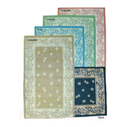 None - Paisley Floral Indoor/ Outdoor Rug (7'10 x 11'2) - Brighten up your home with these transitional indoor/outdoor rugs. The paisley floral rugs come in black, green, or blue with scattered white floral designs. They are made of polypropylene, which is resistant to the dirt and bad weather outdoors.