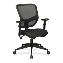 Lorell - Lorell Executive Mesh Mid-Back Chair - Fabric Black Seat - Black Back - Executive mid-back chair offers a breathable mesh back; height-adjustable, Variable-Resistance Lumbar (VRL) support; and upholstered cushioned seat to enhance your comfort. Simple tilt mechanism can raise or lower the seat to your desired height using the handle. Increase or decrease the tilt tension with the knob control. Functions also include 360-degree swivel and height-adjustable arms with soft polyurethane pads. Black, five-star nylon base is equipped with smooth-rolling casters for easy mobility. Weight capacity is 250 lb. Mid-back chair meets or exceeds BIFMA standards.