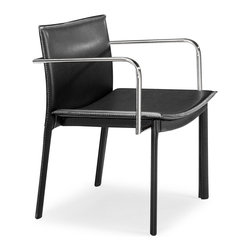 ZUO MODERN - Gekko Conference Chair Black (set of 2) - This handsome leatherette wrapped chair has eclectic design cues with funky lines, chrome arms, and with a fully wrapped leatherette body. The Gekko comes in black, white, and espresso.
