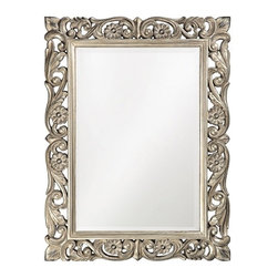 Howard Elliott - Howard Elliott 2113 Chateau Antique French Pewter Mirror - Antique French Pewter Mirror belongs to Chateau Collection by Howard Elliott The Chateau Mirror features an Ornate,Traditional open scroll work rectangular frame accented with daisies that is finished in an antique French pewter. Mirror (1)