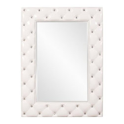 Howard Elliott Glamour Tufted Mirror - Glossy White - 34W x 47H in. - The Howard Elliott Glamour Tufted Mirror - Glossy White - 34W x 47H in. complements modern, minimalist decors as well as elegant upholstered furniture. This transitional-style mirror features a rectangular shape and can be hung either vertically or horizontally. Its frame is made from beautiful, solid resin and features a tufted design with crystal studs. A refreshing glossy white finish anoints the frame. A fine beveled edge accents the smooth mirror edge. Weighs a sturdy 29 lbs.About the Howard Elliott CollectionThe Howard Elliott Collection is one of the premiere manufacturers of decorative mirrors and accessories in the home furnishings industry. Howard Elliott offers innovative designs in a wide variety of styles, and the company prides itself on its high standards and quality. No matter your style, the Howard Elliott Collection offers pieces that are sure to add sophistication and luxury to your decor.In the company's meteoric rise, it now ships to nearly 3,500 furniture, home furnishings, and lighting retailers as well as many of the top contract companies servicing the hotel and building industries worldwide.