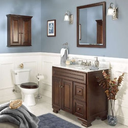 Foremost Hawthorne 30 in. Dark Walnut Single Bathroom Vanity with Mirror - The Foremost Hawthorne 30 in. Dark Walnut Single Bathroom Vanity is a handsome traditional-style vanity with a sturdy frame constructed from engineered wood. The unit features 2 full-extension drawers and a storage cabinet built into the frame each accented with antique brass finished hardware. A dark walnut finish completes the look. Countertop and faucet not included. The set features a beveled mirror a wall cabinet and a floor cabinet (all optional); each piece features matching dark walnut finishes and antique brass finished hardware. About Foremost Groups Inc.Established in 1988 based on simple strategies and principles Foremost remains dedicated to their mission of providing fashionable innovative designs and knowledgeable friendly customer service to their customers on a daily basis. Throughout the years Foremost has developed offices and distribution centers in the U.S. and Canada with four separate product divisions consisting of bathroom furniture indoor and outdoor furniture and even food service equipment. All of their products are proudly constructed with world class engineering and the best designs at an affordable price.