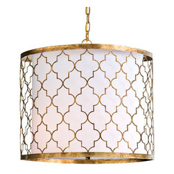 Motif Designs - Motif Designs Brass Arabesque Pendant Light - A unique fixture with oriental inspiration for the Arabesque Pendant Light makes a stunning impression with its brass metal mosaic frame around a simple linen cylinder shade. With a reversing pattern of half-circles and lines arranged like puzzle pieces, the pattern created looks mirrored to create endless sophistication in the design. These features make it a vibrant and interesting light fixture for a room:Basic linen lampshade inside a metal frameMade with shiny, gold-toned brassRequires three (3) 60-watt bulbsFour (4) foot chain