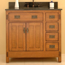 "Rustic Bathroom Vanities - Sagehill Designs Ac3621d 36"" Oak Wood Bathroom Vanity Cabinet With Two Doors From The American Craftsman Collection"