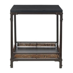 Safavieh - Safavieh Dinesh End Table X-A9456HMA - The Dinesh end table pairs a casual style with industrial undertones. A Black Wood Top and wicker-finished bottom shelf stand atop Dark walnut toned metal legs, which boast exposed rivets and brackets - a modern counterpoint to a traditional style. Minor assembly required.