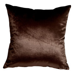 Pillow Decor - Pillow Decor - Milano 16 x 16 Brown Decorative Pillow - The Milano 16 x 16 Brown Decorative Pillow is a luxurious, high sheen accent pillow, made from an exceptionally soft but durable fabric. The fabric has a flat brushed velveteen finish through which fine, narrow, horizontal lines are cut. This richly colored pillow is elegant and sophisticated and would be suitable in formal and informal settings.