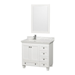 "Wyndham Collection - Wyndham Collection Acclaim 36"" Bathroom Vanity, White, Carrera Marble - Wyndham Collection®"
