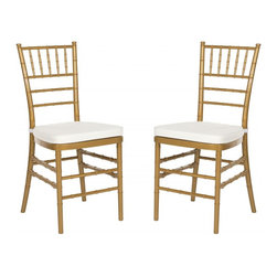 Safavieh - Carly Side Chair ( Set Of 2 ) - Whether glamorizing a wedding, anniversary or an intimate dinner at home, the elegant Carly Side Chair dresses up your special occasion in style.  A 21st century adaptation of the 200-year old Chiavari chair (named after Italian Riviera town of Chiavari where it was first designed), the classic bamboo-patterned frame is molded of sturdy but lightweight PC resin for indoor-outdoor use.  Sold in sets of two, each with plush, detachable tie-on cushion and glistening gold frame, Carly is priced to own at less than you�d pay for a one-time party rental.