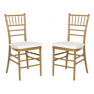 Safavieh - Carly Side Chair ( Set Of 2 ) - Whether glamorizing a wedding, anniversary or an intimate dinner at home, the elegant Carly Side Chair dresses up your special occasion in style. A 21st century adaptation of the 200-year old Chiavari chair (named after Italian Riviera town of Chiavari where it was first designed), the classic bamboo-patterned frame is molded of sturdy but lightweight PC resin for indoor-outdoor use. Sold in sets of two, each with plush, detachable tie-on cushion and glistening gold frame, Carly is priced to own at less than you would pay for a one-time party rental.