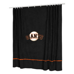 Sports Coverage - MLB San Francisco Giants Baseball Accent Shower Curtain - Features: