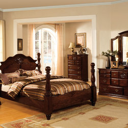 Furniture of America - Furniture of America Weston Traditional 4-piece Glossy Dark Pine Poster Bedroom - Sweet curves and waves become your best friend when you rest upon this traditionally designed four poster bed and bask in its classic allure. Dramatic bed knobs adorn the bed frame while antique embellishments decorate the entire set.