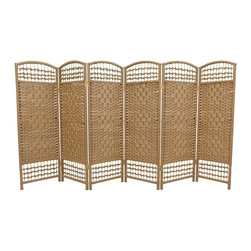 Oriental Furniture - 4 ft. Tall Fiber Weave Room Divider - Natural - 6 Panels - A lightweight woven plant fiber room divider standing four feet high, perfect for the needs of a small space. A delicate, airy effect is achieved by the intersection of the open weave with the lattice running along the top and bottom.