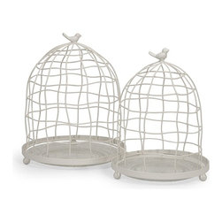 """IMAX CORPORATION - Picheno Glass and Metal Cloche - Set of 2 - This set of two wire cloches feature glass bases for displaying an endless array of items, from miniature potted herbs to collectible accents.  Set of 2 cloches measuring 20""""H x 8.25""""W x 23""""L and 24""""H x 10""""W x 26""""L each. Find home furnishings, decor, and accessories from Posh Urban Furnishings. Beautiful, stylish furniture and decor that will brighten your home instantly. Shop modern, traditional, vintage, and world designs."""