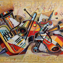 Israel Rubinstein, Symphony, Mixed Media Painting - Artist:  Israel Rubinstein, Israeli (1944 - )
